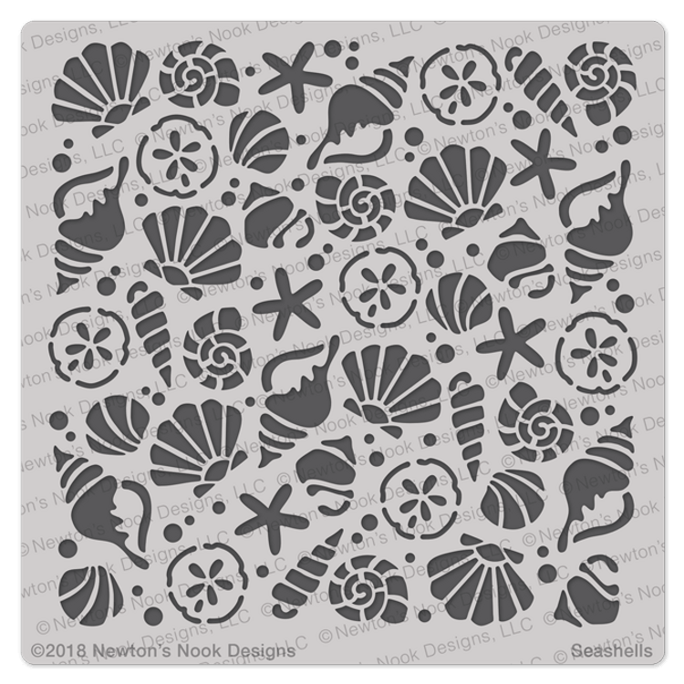 Seashells Stencil ©2018 Newton's Nook Designs