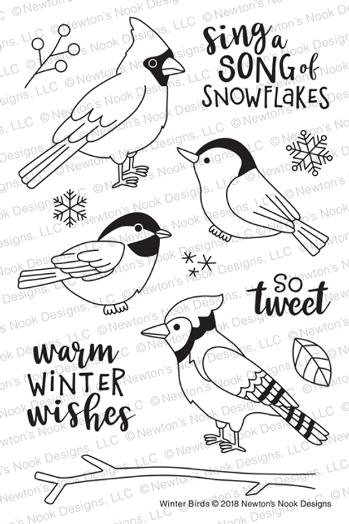 Winter Birds Stamp Set ©2018 Newton's Nook Designs