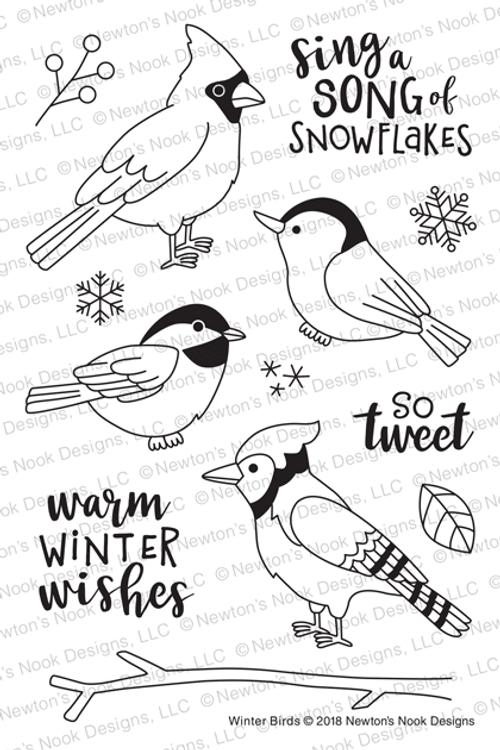 Winter Birds Stamp Set ©2018 Newton's Nook Designs
