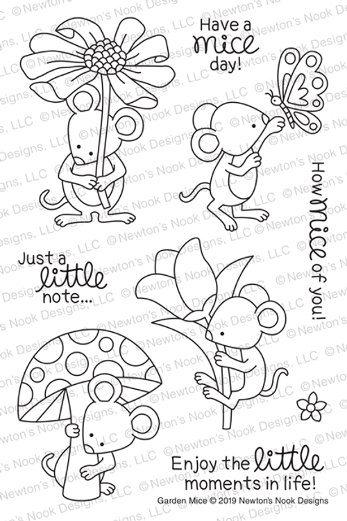 Garden Mice Stamp Set ©2019 Newton's Nook Designs