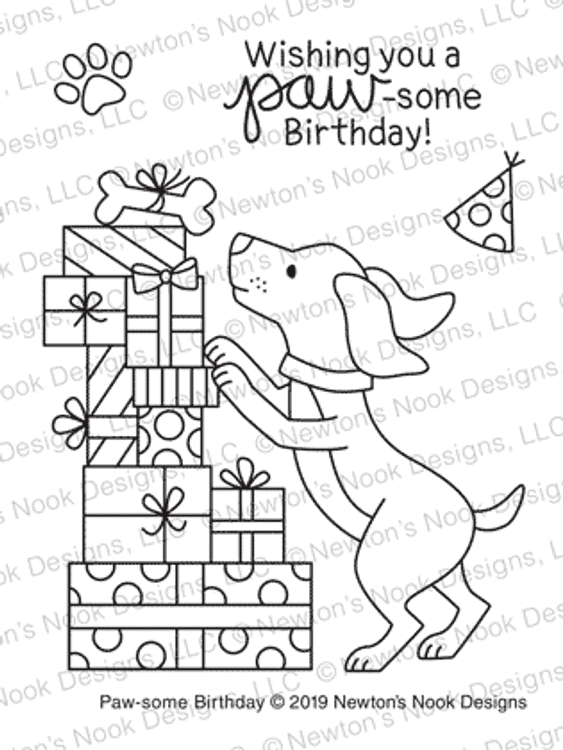 Paw-some Birthday Stamp Set ©2019 Newton's Nook Designs