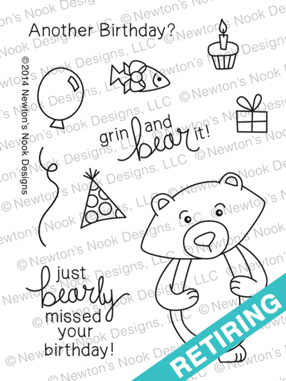 Winston's Birthday - 3x4 Photopolymer Bear stamp set by Newton's Nook Designs.