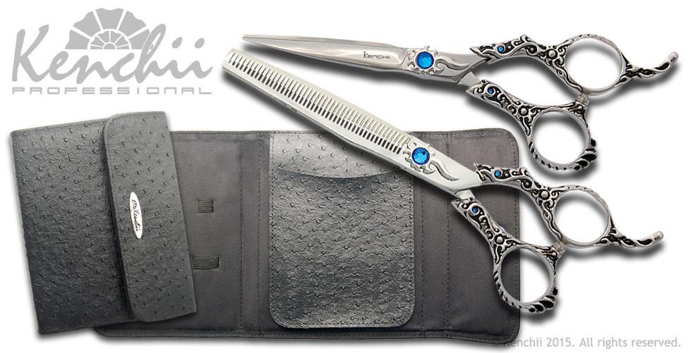 "Evolution 5.5"" straight scissor with 46-tooth thinner and black KEO 6-scissor case."