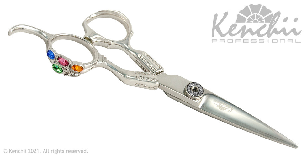 Kenchii Radiance 5.5-inch scissor with jewel-encrusted finger ring.