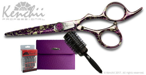 Hearts on Fire set including 5.5-inch or 6.0-inch Hearts on Fire scissor, ceramic nylon bristle brush, 4-pack Kenchii Power Clips, and purple faux ostrich case.