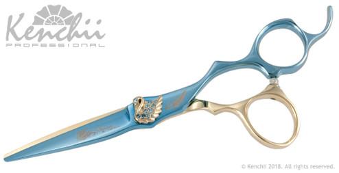 Kenchii Swan™ 5.5-inch cobalt scissor in blue and gold titanium.
