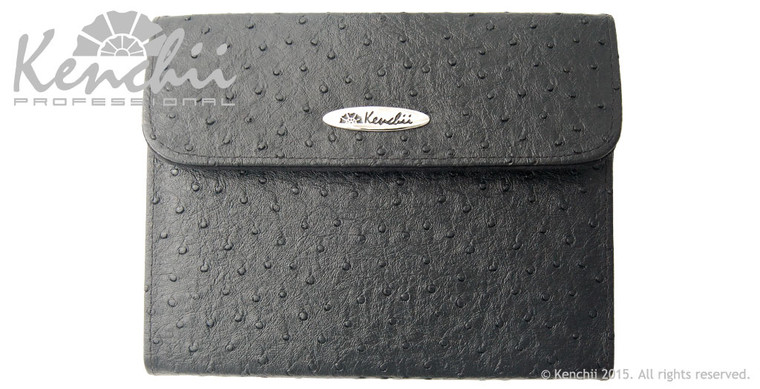 Ostrich Faux Leather 6-shear Case, Black