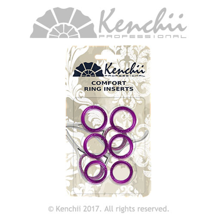 Purple 6-pack finger inserts for shears. Three sizes can be inserted into each other for snug fit.