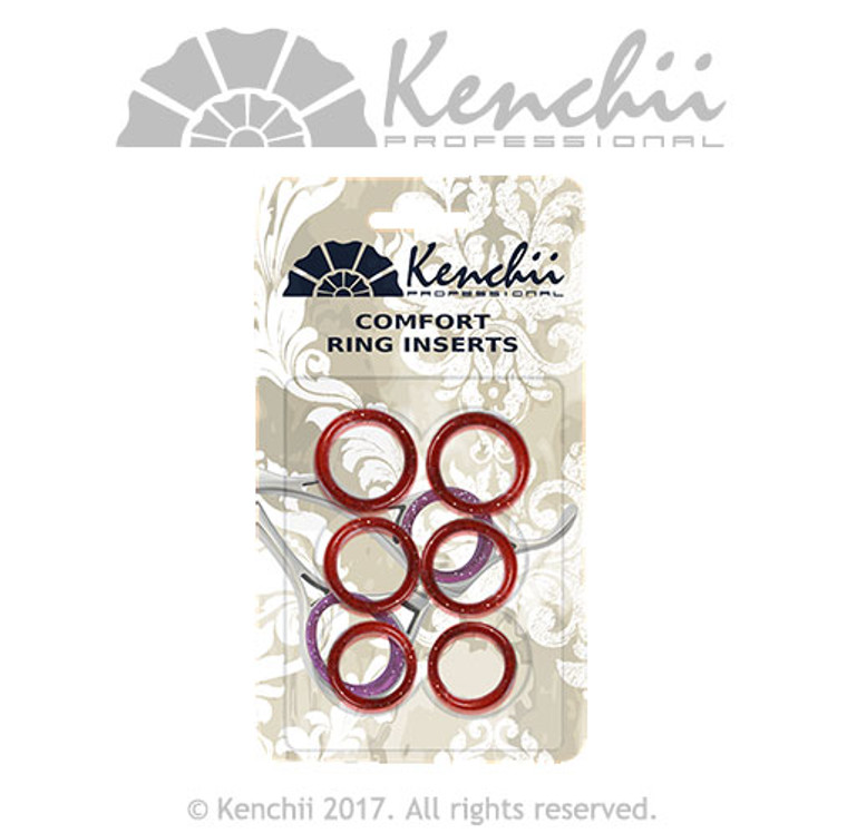 Red 6-pack finger inserts for shears. Three sizes can be inserted into each other for snug fit.