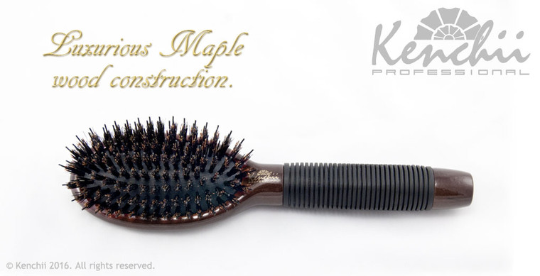 Small Boar and Nylon Bristle Brush with One-piece Maple Body