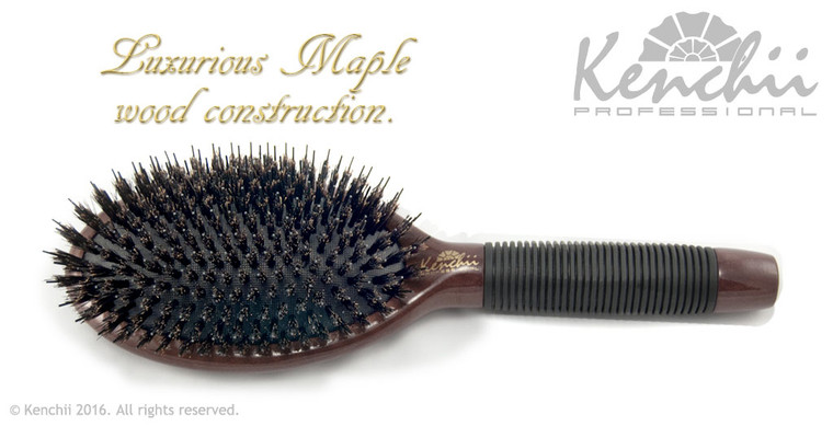 Large Boar and Nylon Bristle Brush with One-piece Maple Body