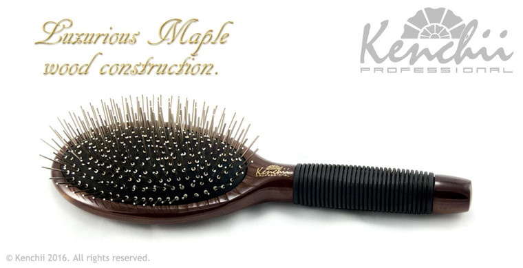 Large Metal Pin Brush with One-piece Maple Body