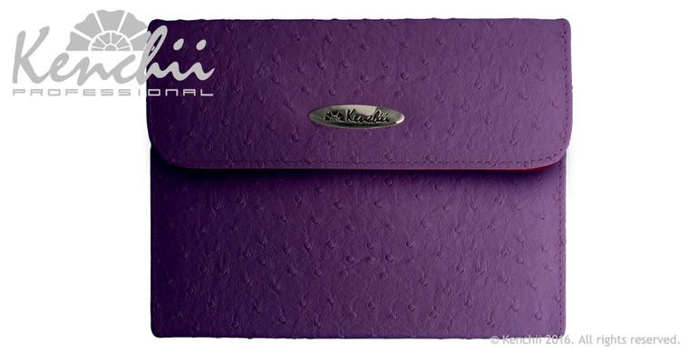 Ostrich Faux Leather 6-shear Case, Purple