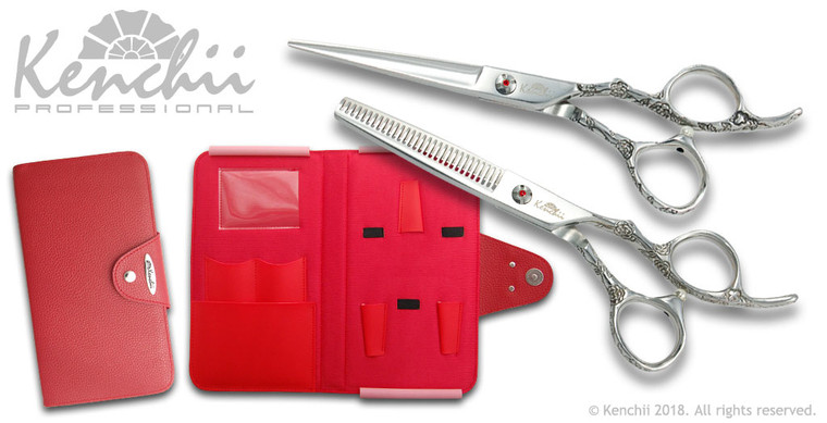 Kenchii Rose set. Shown with 6.0-inch scissor, 30-tooth thinner, and KEL5 red case.