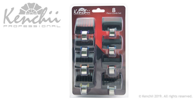 Kenchii Flash™ Clipper Combs 8-pc set includes sizes 0, 1/2, 1, 3/2, 2, 3, 4, and 5.