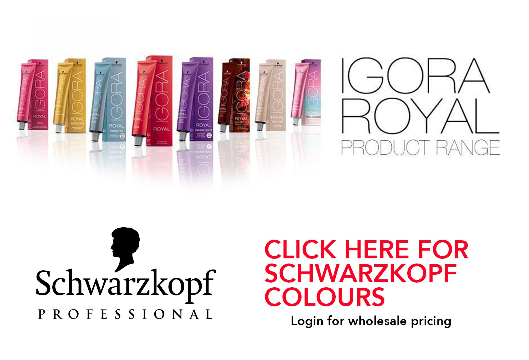 Full range of Schwarzkopf Professional Hair Colour, developers, bleach and Hair Care retail range.