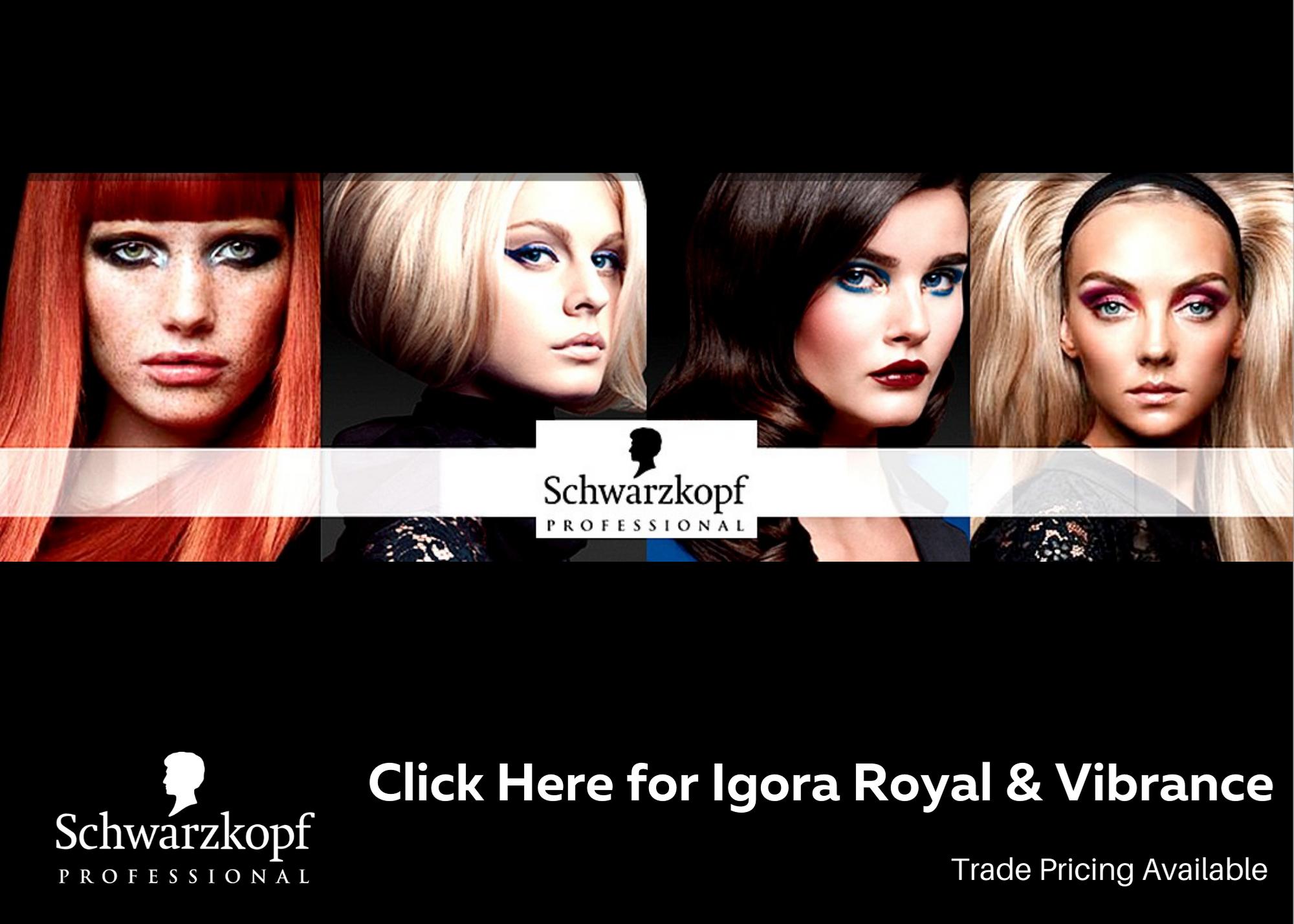Full range of Schwarzkopf Professional Hair Colour, developers, bleach and Hair Care retail range.