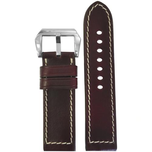 24mm Dark Burgundy Chromexcel Leather Watch Band   Paneraibands.com