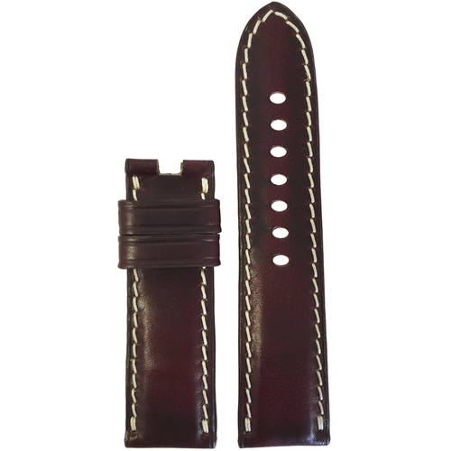 24mm Burgundy Chromexcel Leather Watch Band for Panerai Deploy Clasp