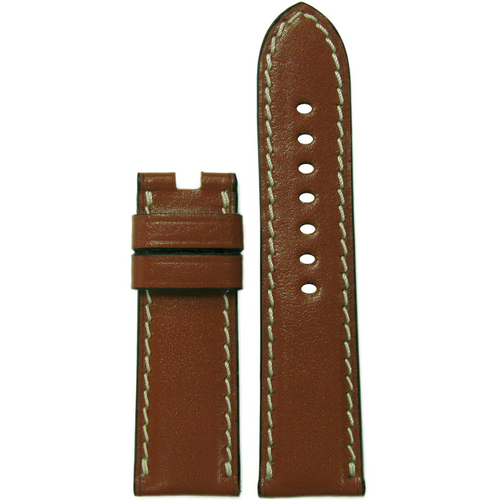 24mm Cognac Saddle Leather Watch Band for Panerai Deploy Clasp | Paneraibands.com