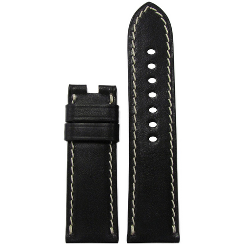 22mm Black Saddle Leather Watch Band for Panerai Deploy Clasp | Paneraibands.com