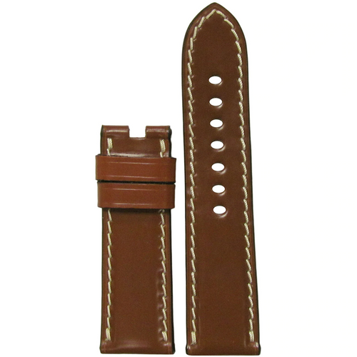 24mm Cognac Shell Cordovan Leather Watch Band for Panerai Deploy Buckle | Paneraibands.com