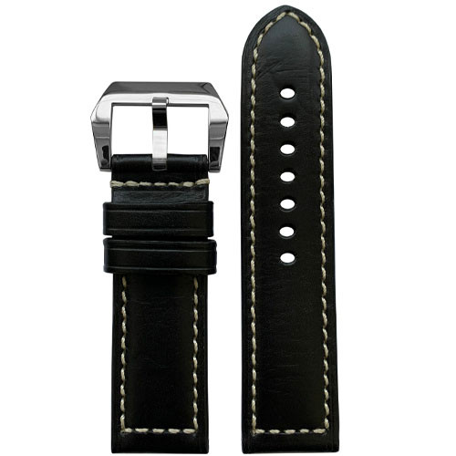 22mm RIOS1931 Black Firenze | Russian Leather Watch Band for Panerai