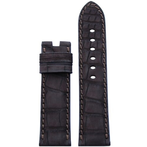 24mm Mocha Nubuk Alligator Watch Band | Match Stitch | For Panerai Deploy Clasp