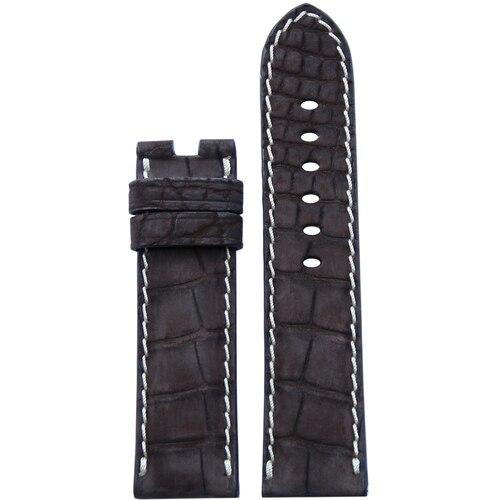 24mm Mocha Nubuk Alligator Watch Band | White Stitch | For Panerai Deploy Clasp