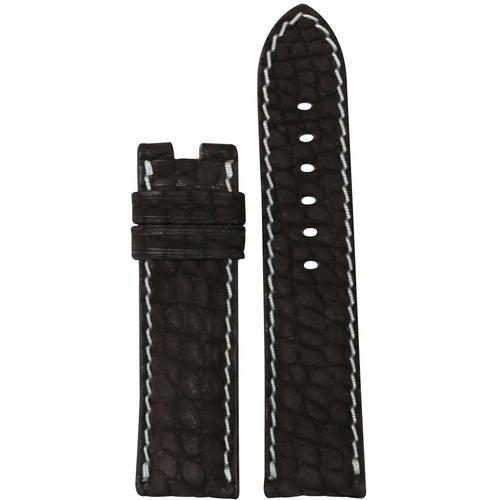 24mm Mocha Nubuk Alligator Watch Band | Flank Cut, White Stitch | For Panerai Deploy Clasp