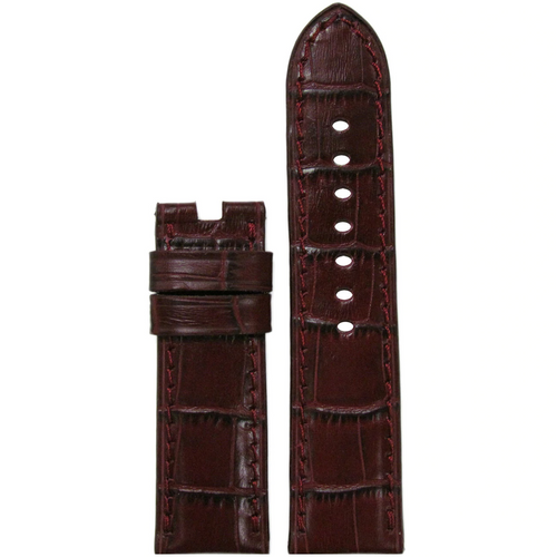 24mm Burgundy Leather Gator Watch Band with Match Stitch for Panerai Deploy Buckle | Paneraibands.com