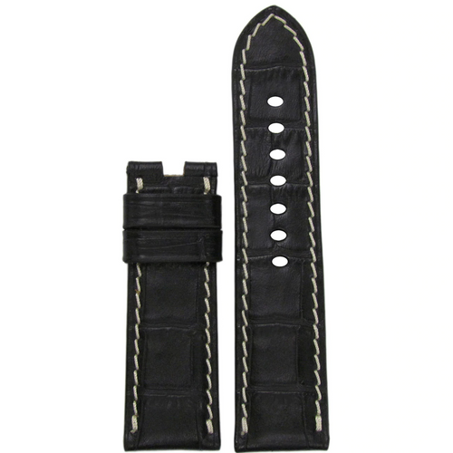 24mm Black Leather Gator Watch Band with White Stitch for Panerai Deploy Buckle | Paneraibands.com