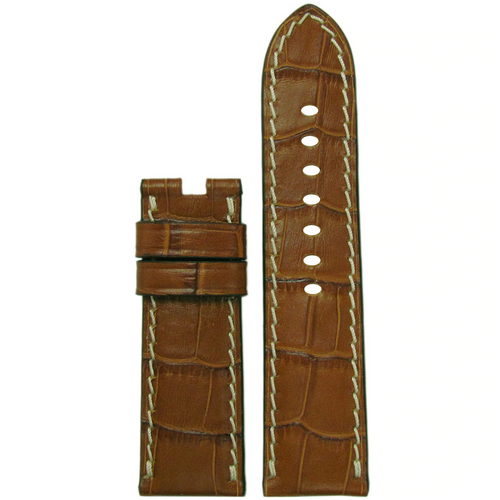 22mm Cognac Embossed Leather Gator Watch Band with White Stitch for Panerai Deploy Buckle | Paneraibands.com