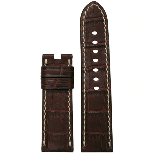 22mm Mahogany Embossed Leather Gator Watch Band with White Stitch for Panerai Deploy Buckle | Paneraibands.com