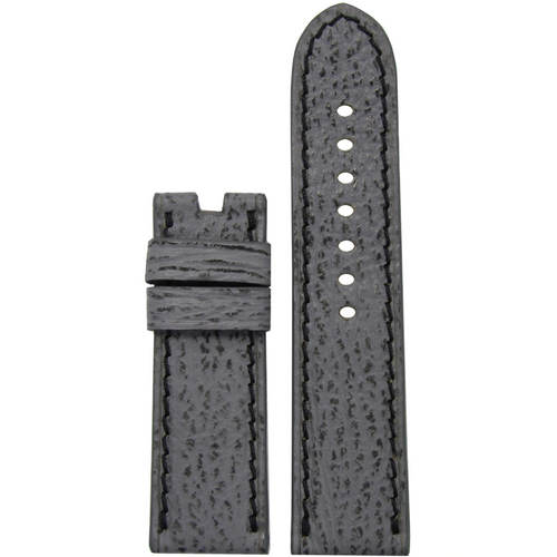 24mm Grey Shark Watch Band with Black Stitching for Panerai Deploy Buckle | Paneraibands.com