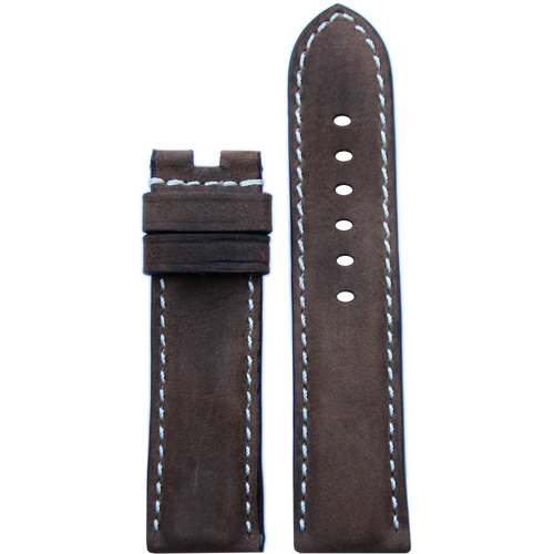 24mm Dark Olive Vintage Leather Watch Band with White Stitching for Panerai Deploy | Paneraibands.com
