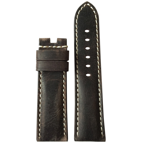 22mm (XL) Slate Distressed Vintage Leather Watch Band with White Stitching for Panerai Deploy | Paneraibands.com
