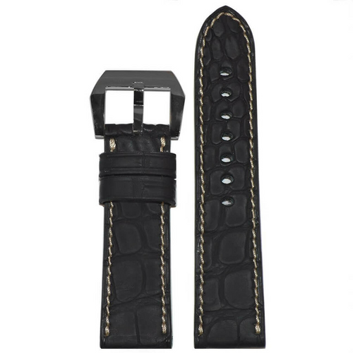 24mm Black Genuine Alligator Watch Strap | Flank Cut | Caoutchouc Rubber Coating | Creme-White Stitching