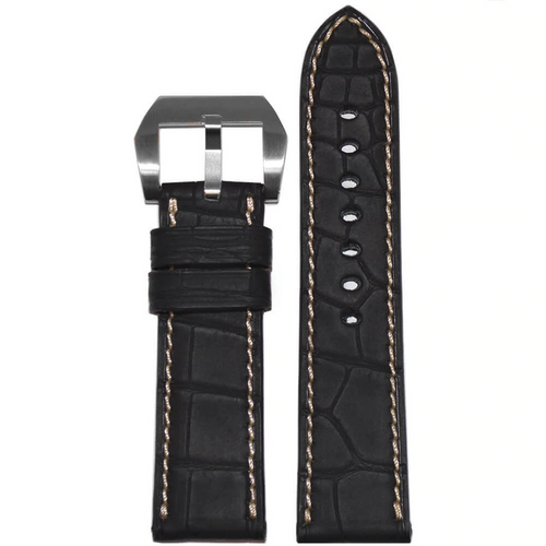 22mm Black Genuine Alligator Watch Band with Rubber Coating and Creme Stitching for Panerai