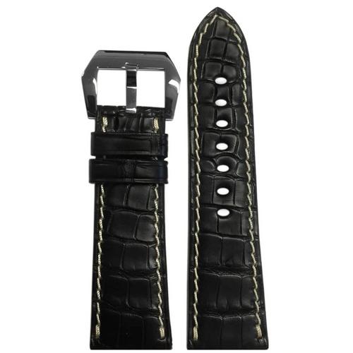 26mm Black Alligator Watch Band for Panerai Radiomir