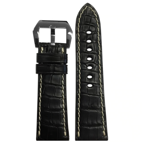 26mm XL Black Alligator Watch Band for Panerai Radiomir