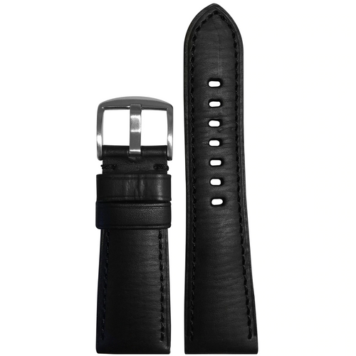 26mm Black HZ Vintage Leather Watch Band with Match Stitching for Panerai Radiomir
