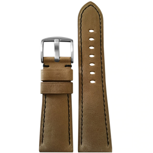 26mm Sand Vintage Leather Watch Band with Black Stitching for Panerai Radiomir