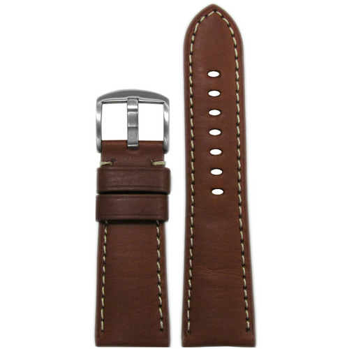 26mm Brown HZ Vintage Leather Watch Band with White Stitching for Panerai Radiomir