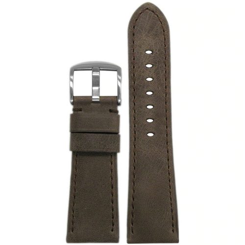 26mm Brown Distressed Vintage Leather Watch Band with Match Stitching for Panerai Radiomir
