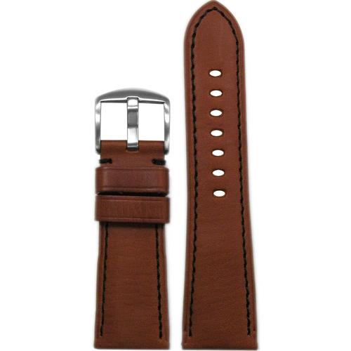 26mm Rou HZ Vintage Leather Watch Band with Black Stitching for Panerai Radiomir