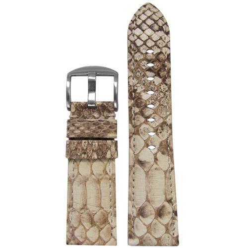 26mm (XL) White Java Rock Python Watch Band with Match Stitching for Panerai Radiomir