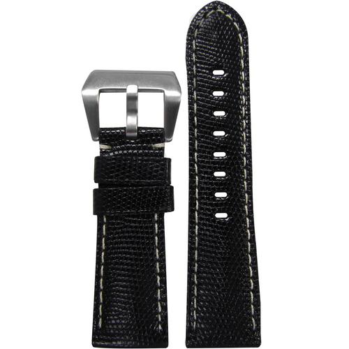 26mm Black Java Lizard Watch Band with White Stitching For Panerai Radiomir