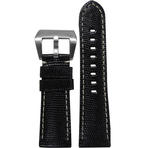 26mm (XL) Black Java Lizard Watch Band with White Stitching For Panerai Radiomir