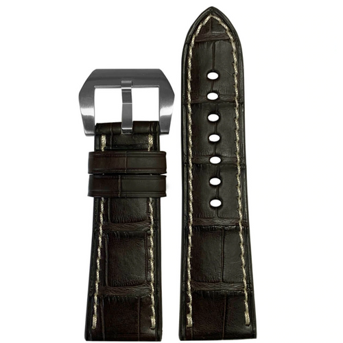26mm Coffee Alligator Watch Band with White Stitching for Panerai Radiomir   Paneraibands.com